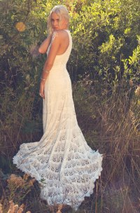 crochet lace racer back wedding dress | OneWed.com