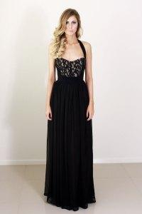 black halter long bridesmaid dress | OneWed.com
