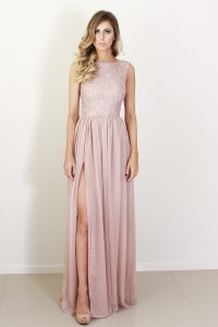 blush silk and lace bridesmaid dress | OneWed.com