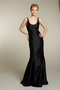 Sophisticated long black bridesmaid dress | OneWed.com