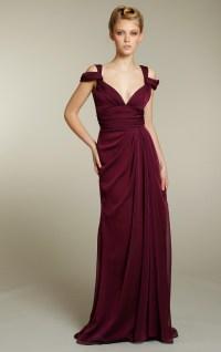 Long chiffon bridesmaids dress in rich maroon color ...