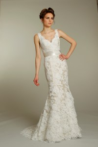 Romantic ivory v-neck lace wedding dress with champagne ...