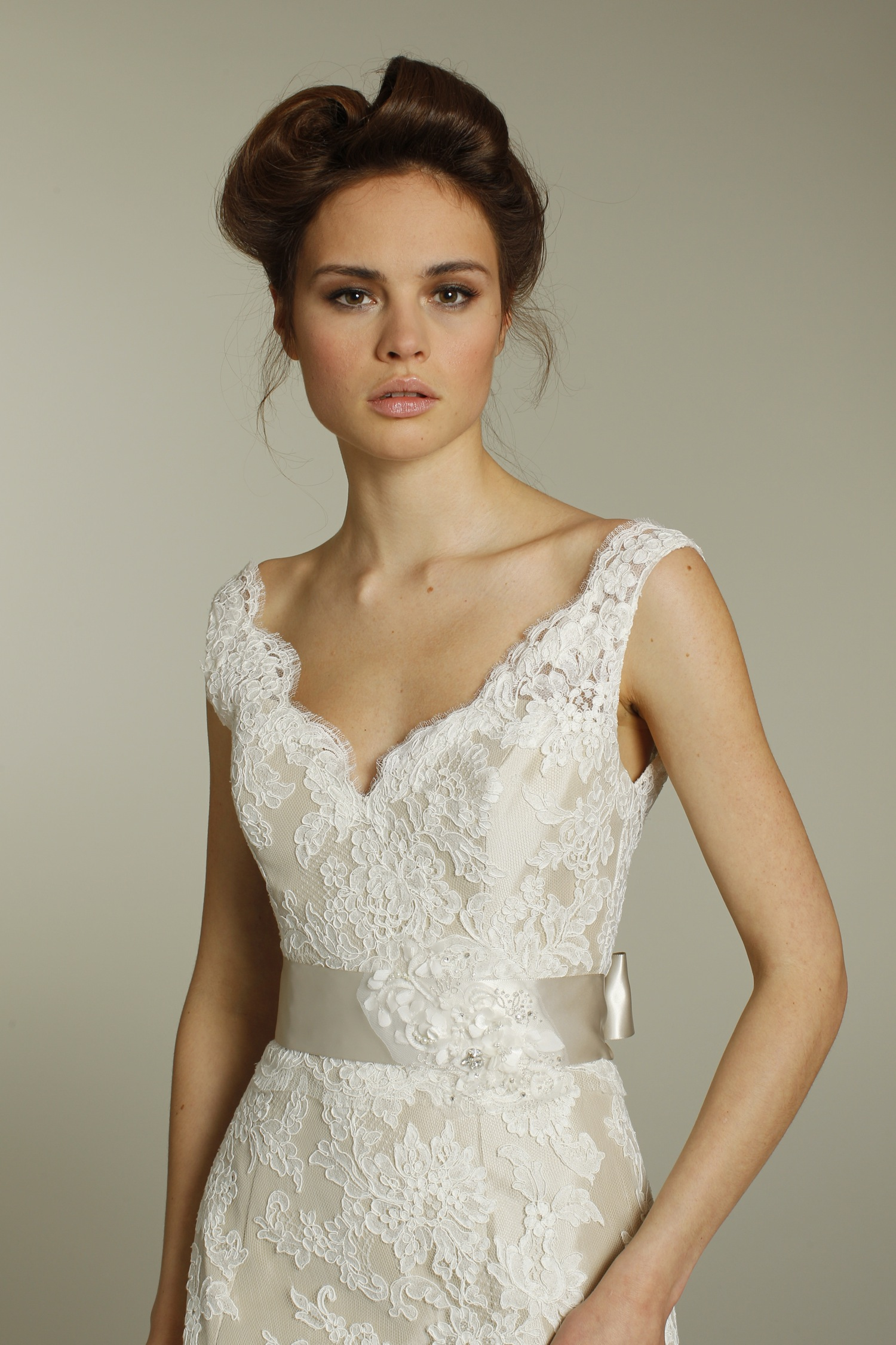 Romantic ivory v neck lace wedding dress with champagne ribbon sash