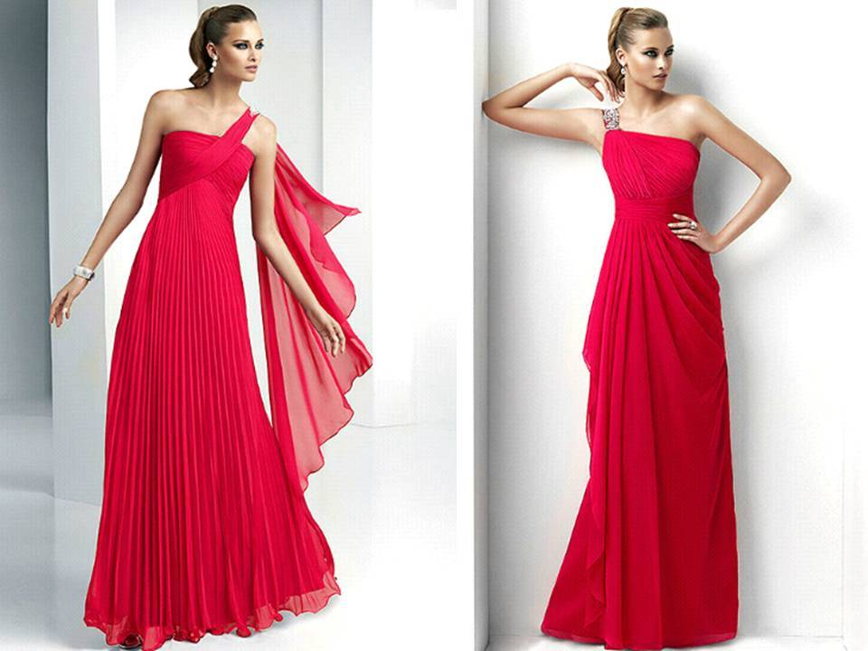 Bright Red Long Bridesmaids Dresses By Pronovias