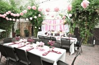 Girly outdoor California bridal shower with soft pink ...
