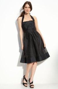 Black halter neckline bridesmaids dress with full knee ...