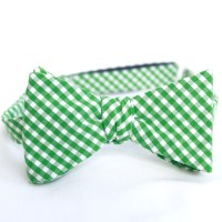 Country chic green and white gingham bow tie for preppy ...