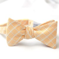 Muted peach and white patterned groom's bow tie for ...