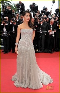 Salma Hayek in strapless Gucci gown with beaded corset