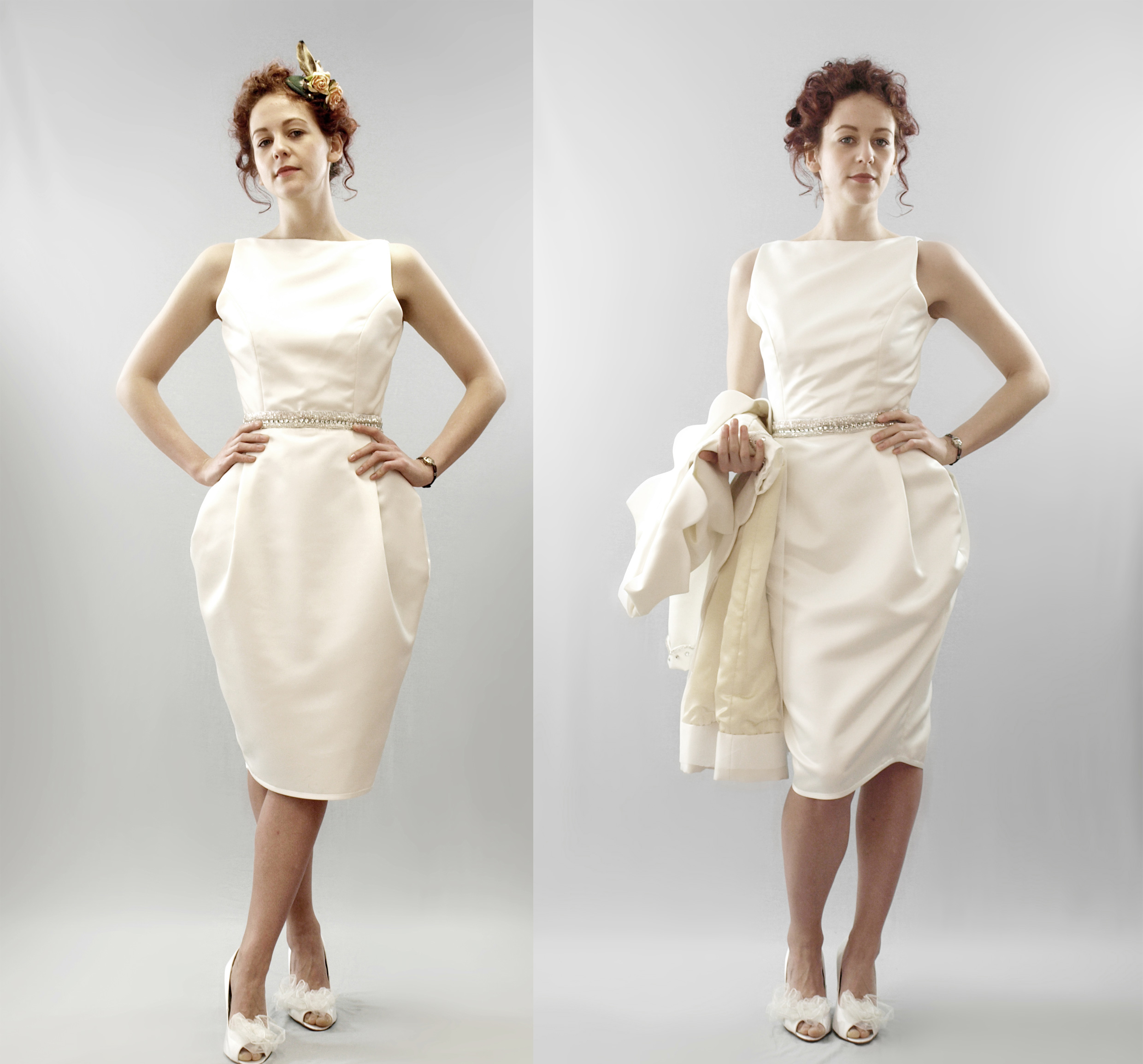 Chic vintageinspired ivory column gown with a kneelength hem  OneWedcom