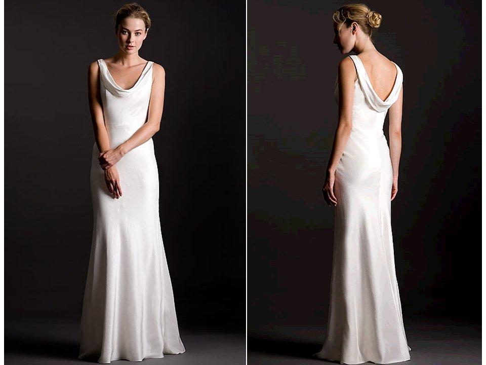 Sleek Silk Crepe Sheath Style White Wedding Dress With