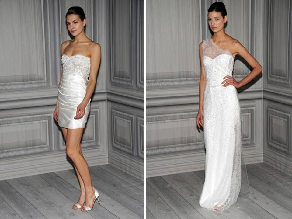 Chic Mini Wedding Reception Dress And One-shoulder Column Gown