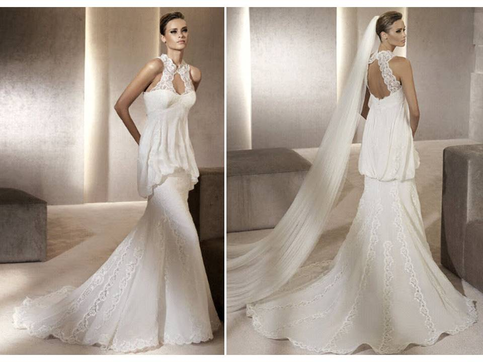 Romantic Mermaid Wedding Dress With High Lace Neck And