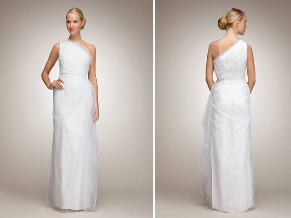 Chic One-shoulder Column Wedding Dress With Dot Tulle
