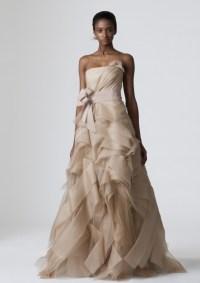Strapless beige Vera Wang a-line wedding dress | OneWed.com