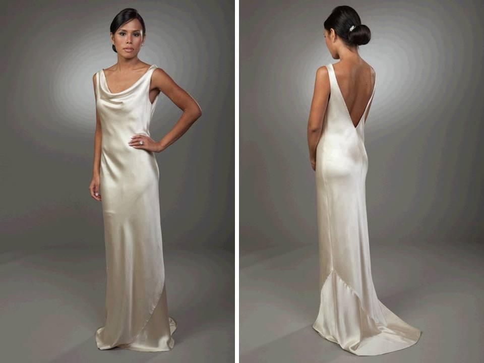 Sleek Column Silk Wedding Dress With Open V Back