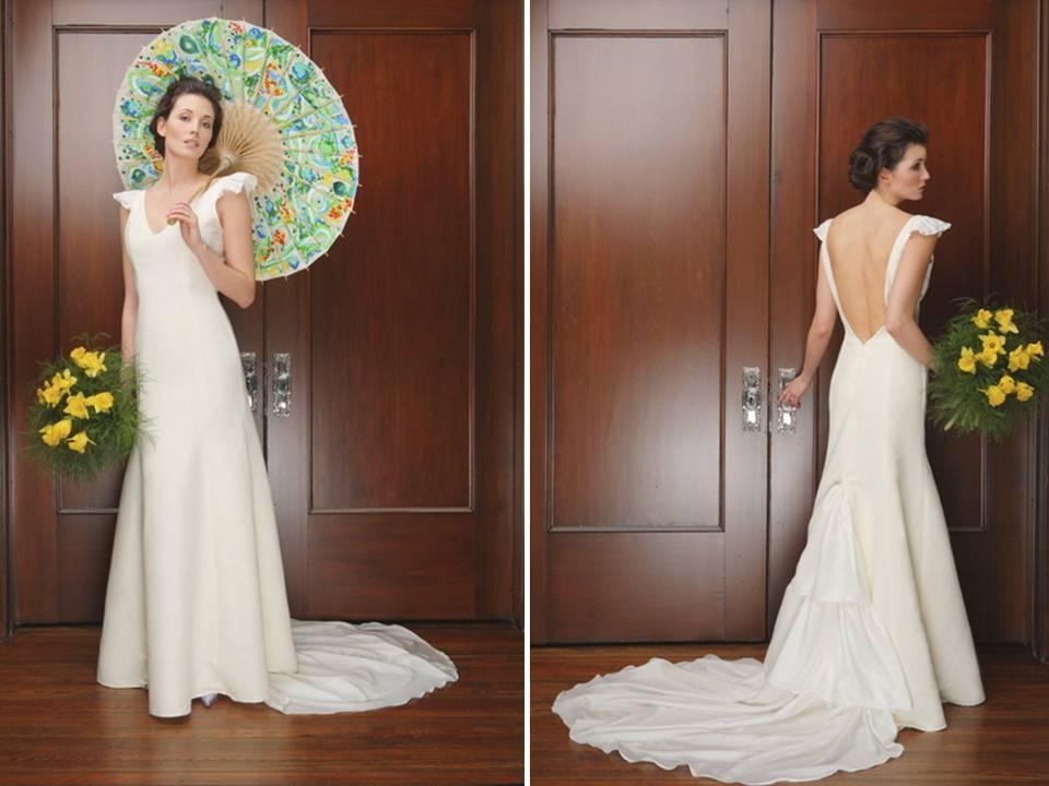Modified Mermaid Slip Style Wedding Dress With Dramatic