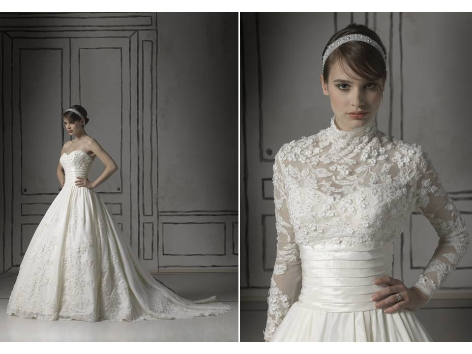 Romantic White Lace Ball Gown Wedding Dress With Sheer