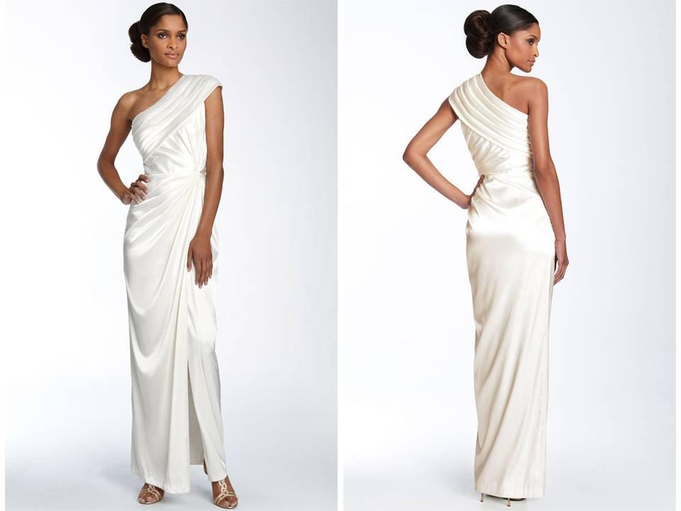 One Shoulder Silk Charmeuse Grecian-inspired Wedding Dress
