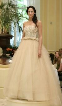 Beige romantic tulle ballgown wedding dress | OneWed.com