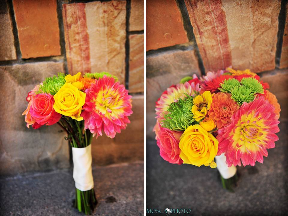 Gorgeous Pink, Coral, Yellow, Green Wedding Flowers And