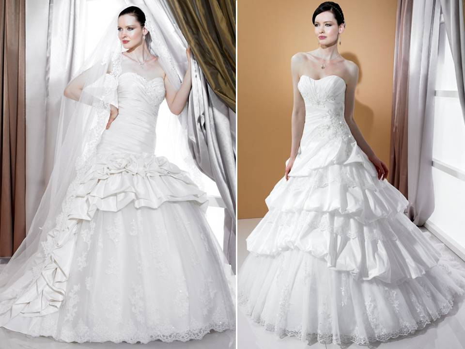 Regal Tulle And Satin 2011 Ball Gown Wedding Dresses By