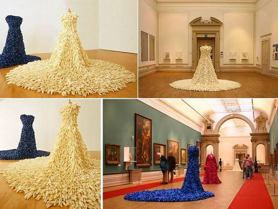 Wedding dress sculpture made from 1400 rubber dishwashing