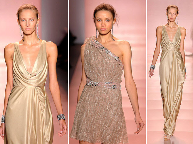 Metallic Champagne Jenny Packham Dress With Plunging Cowl