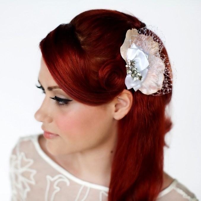 stunning bridal hair accessory- sculptured fabric flower in