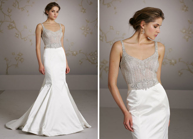Gorgeous Silver Beaded Bodice Illusion Wedding Dress With