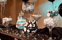 Chic black and white damask with teal bridal shower decor ...