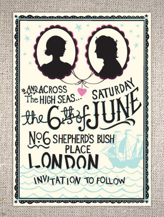 Hip And Quirky High Seas Save The Date Wedding Invitations With Bride Groom Silhouette Bold