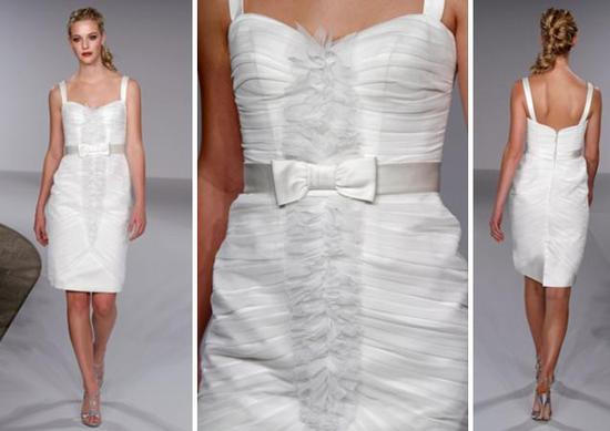 Sheath Style White Wedding Dress With High Boat Neck And