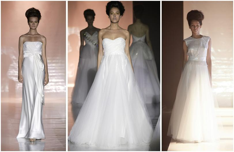 White Wedding Dresses With Clear Sequins From David