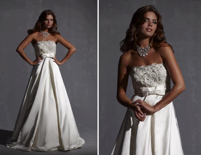 Strapless Champagne A-line Wedding Dress With Small Bow At