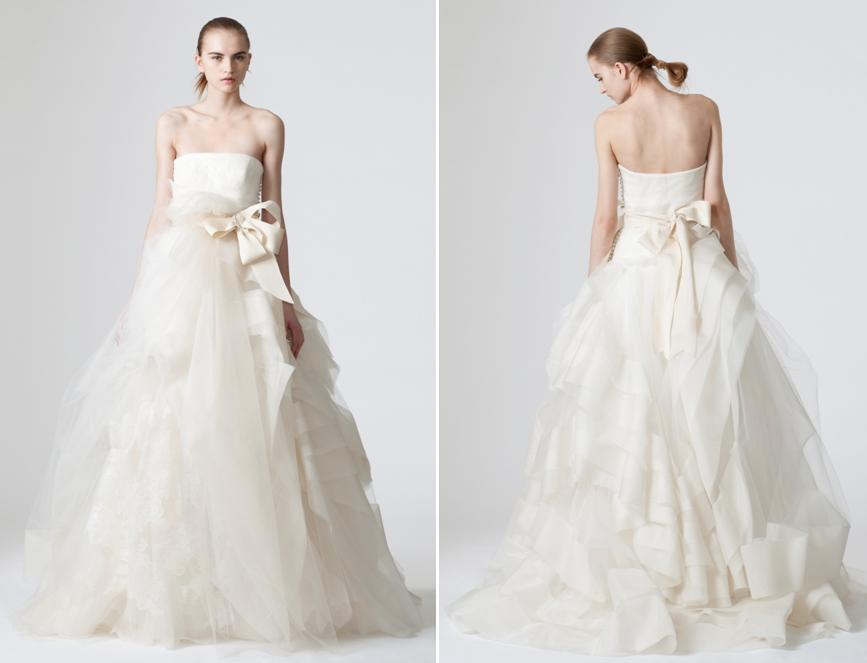 Romantic And Whimsical White Strapless Wedding Dress From