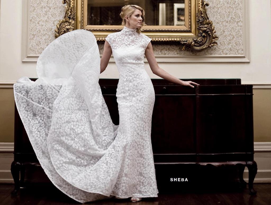 Beautiful Turtle Neck, Cap Sleeved White Wedding Dress
