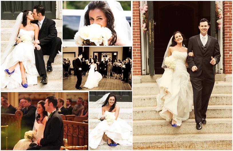 Beautiful Bride In White Strapless Wedding Dress, Blue