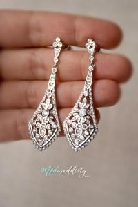 Bridal Chandelier earring, Rhinestone earrings, Wedding ...