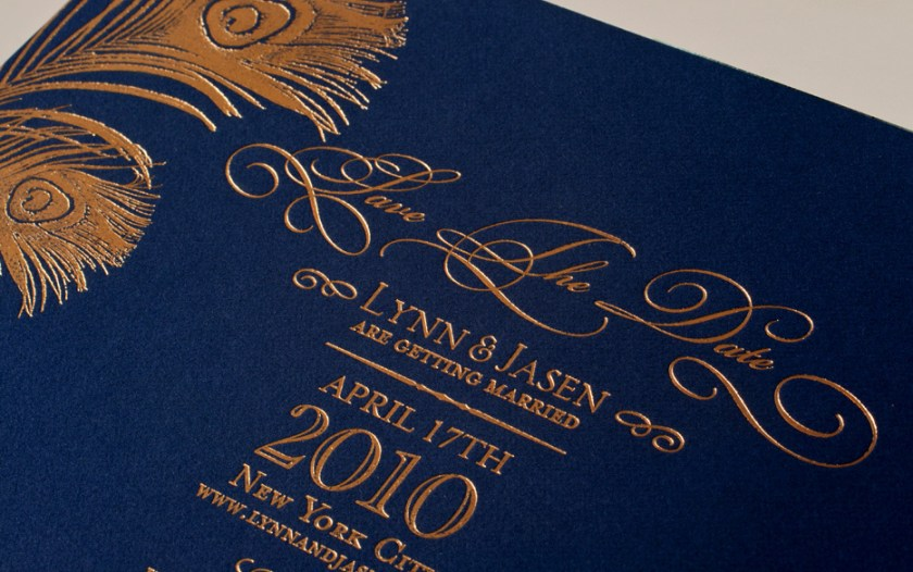 Gold Foil Wedding Invitations Navy Colors