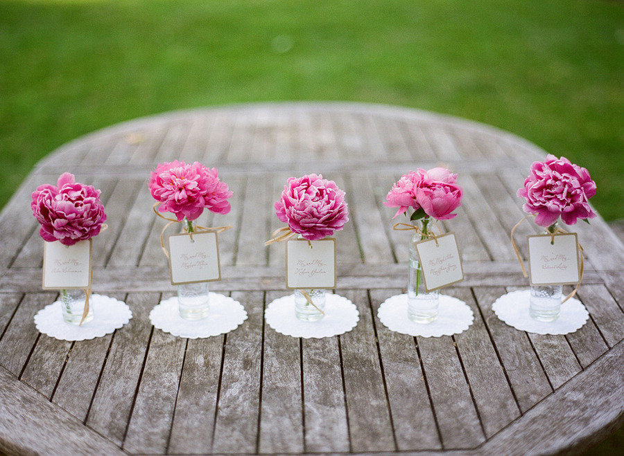 Romantic spring wedding outdoor venue simple centerpieces onewed com