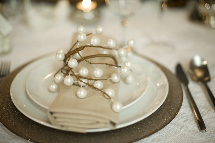 elegant rustic winter wedding reception place setting