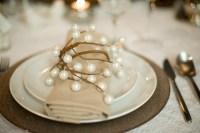 elegant rustic winter wedding reception place setting