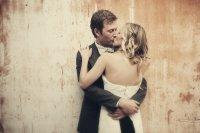 all down wedding hair loose waves bride groom kiss ...