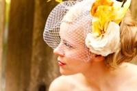 romantic wedding hair accessories birdcage veil yellow ...