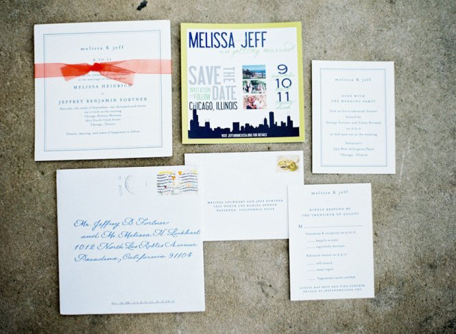 Retro Wedding Invitation Chicago