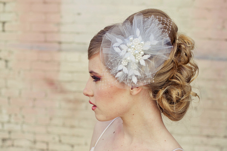 romantic bridal veil wedding hair accessories for vintage