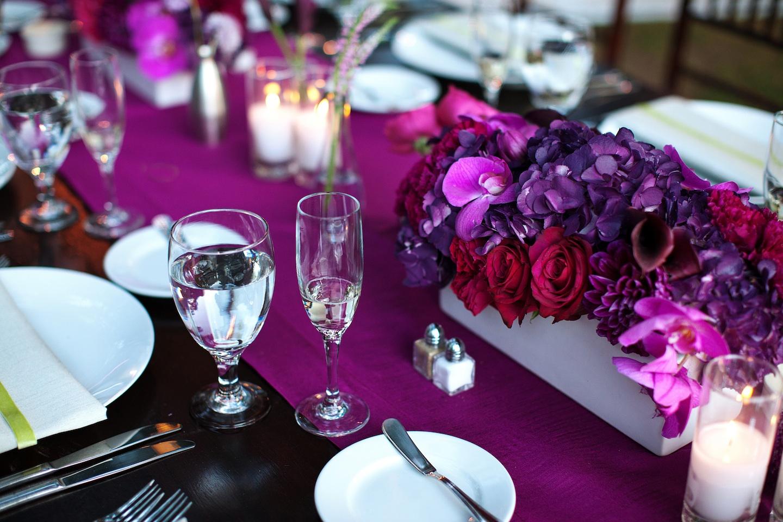 Romantic Purple Red Fuschia Wedding Flower Centerpieces