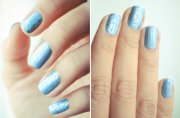ice blue silver wedding nail art