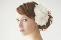 multi bloom feather flower wedding hair piece | OneWed.com